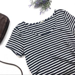 J Crew striped t shirt with shoe lace detail